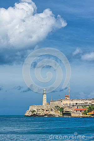 Vertical view of the castle of El Morro in Havana