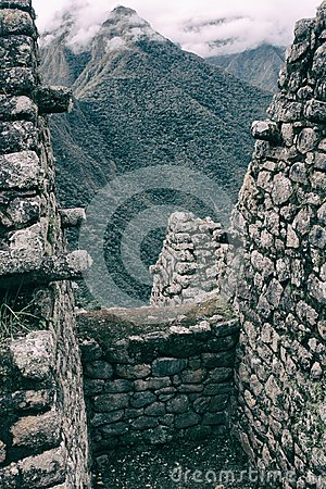 Free Vertical View Of The Andes From Ancient Inca Ruins. Stock Photos - 120710733