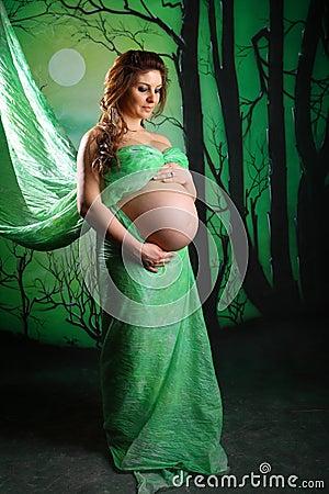verticale d 39 une belle femme enceinte photo stock image 19260340. Black Bedroom Furniture Sets. Home Design Ideas