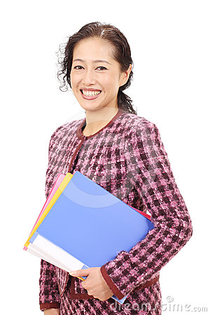Verticale de femme d affaires asiatique
