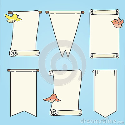 Vertikale Fahnen und Vögel