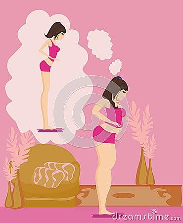 Överviktig flickabrunett som kontrollerar hennes vikt på våg