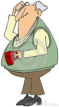 In verwarring gebrachte oude mens met een koffiekop