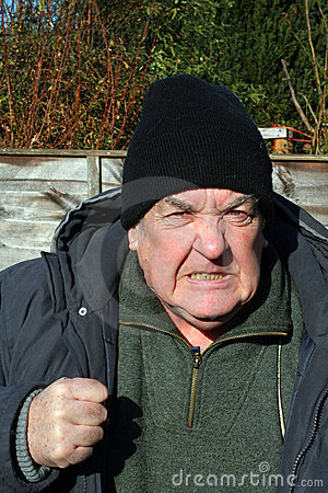 Aggression-very angry elderly man.