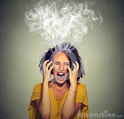 Free Very Angry Off Woman Screaming Steam Smoke Coming Out Up Of Head Stock Photography - 61908242