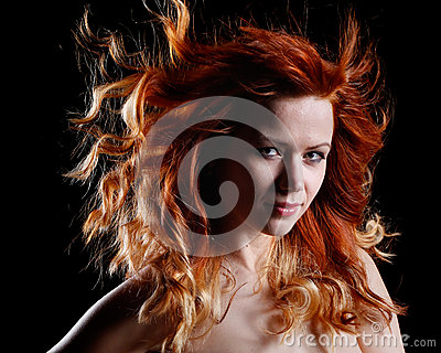 Very beautiful portrait of a sexy woman with red hair