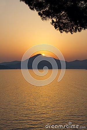 Very beautiful sunset above a sea.