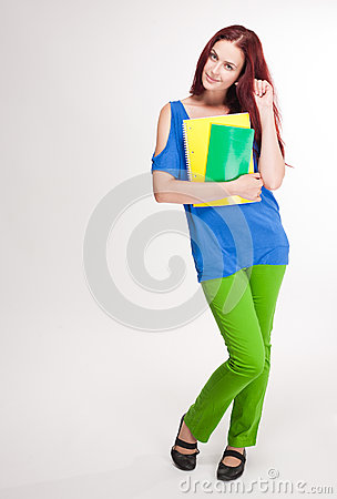 Very colorful cute student girl.