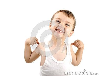 Very cute positive smiling little boy