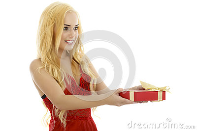 Very cute and sexy blonde woman in red lingerie showing a gift b