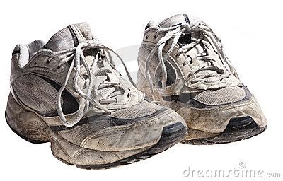 Very dirty and old sport shoes