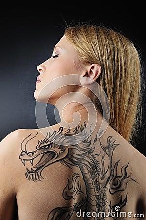 Free Very Dragon Tatoo Girl Stock Photo - 8492460