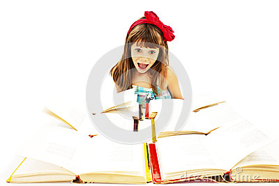 Very excited schoolgirl with open books