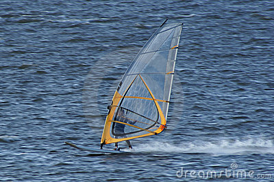 Very fast moving windsurfer