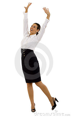 Very happy business woman isolated