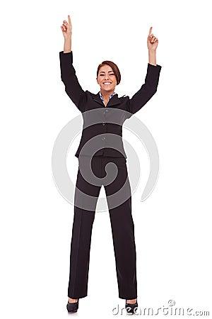 Very happy business woman winning