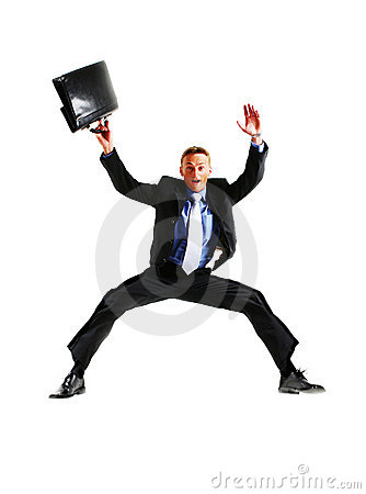 Very happy energetic businessman jumping into the