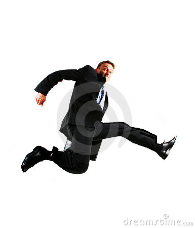 Free Very Happy Energetic Businessman Jumping Into The Stock Image - 8011481