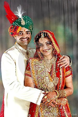 Very Happy Indian couple on their wedding day