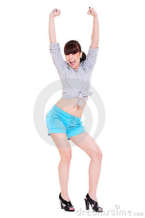 Very happy woman with her raised arms