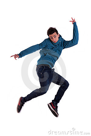 Very happy young man, jumping