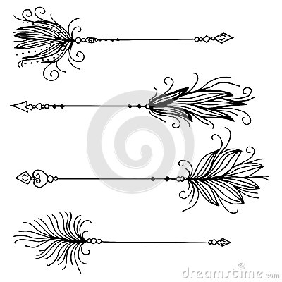 Free Very High Quality Set Of Arrows With Feathers Royalty Free Stock Image - 77846236