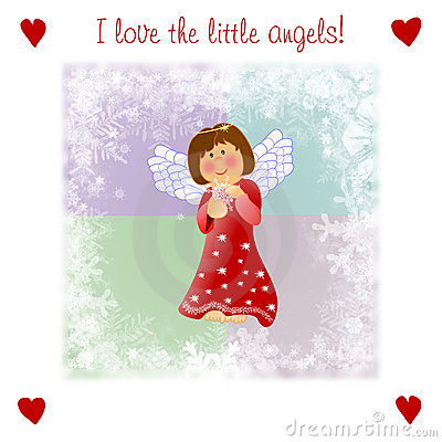 Very kind Christmas illustrationwith little angel