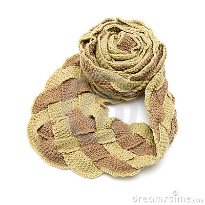 Very long plaited scarf