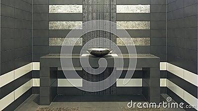 Very modern symmetry bathroom