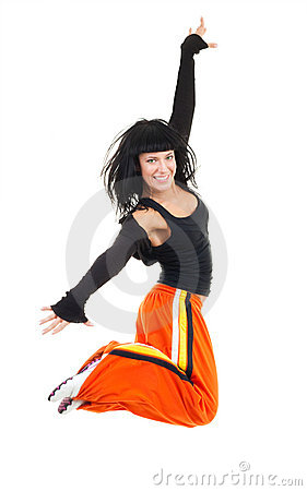 Very much exited woman dancer jumping