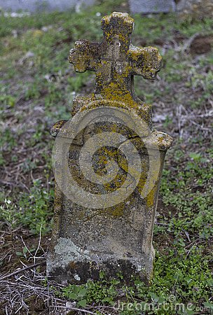 Very old headstone in a Graveyard Stock Photo