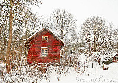 Very old red wooden house in a snowy forest