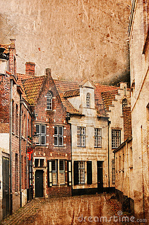 Very old small streets of Brugge - vintage style
