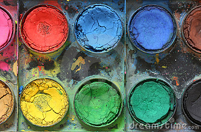 Very old used water color paint box