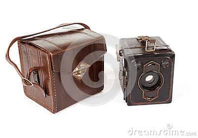 Very old vintage camera on white background