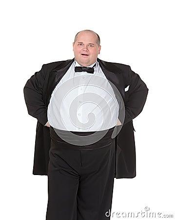 Very overweight cheerful businessman