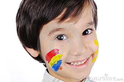 Very positive kid with colors