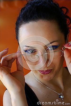 Very pretty Secretary removes her Glasses