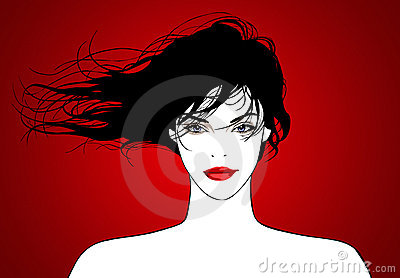 Very pretty young woman with flying hair: vector