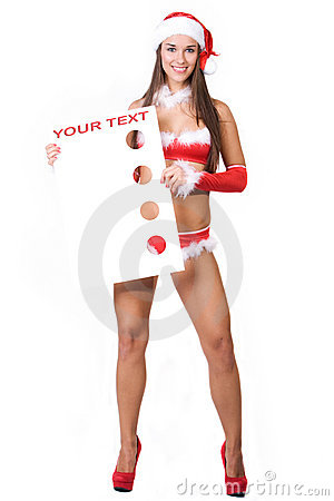 Very sexy christmas girl holding empty white board