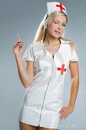 Very sexy woman in kinky nurse outfit