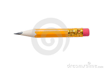 Very short yellow pencil with a rubber