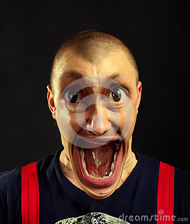 Very surprised screaming man