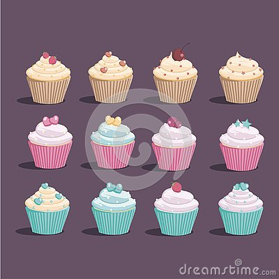 Very sweet cupcakes of different types and colors Vector Illustration