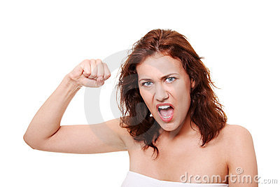 Very upset and angry woman
