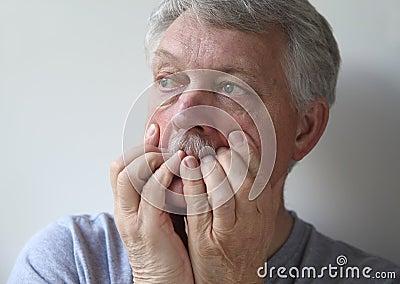 Very worried older man