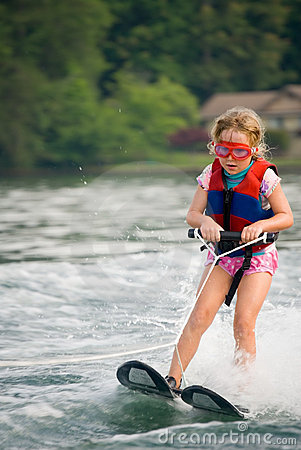 Very Young Girl Skiing