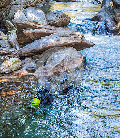 Verzasca River Scuba Divers Editorial Image
