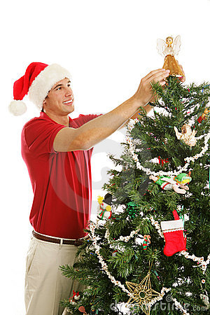 Verzierung Weihnachtsbaum - Platzieren des Engels