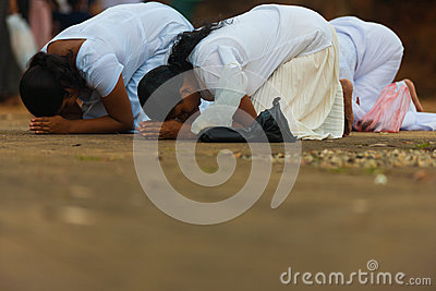 Vesak Full Moon Poya Day Sri Lanka Women Praying Editorial Stock Image
